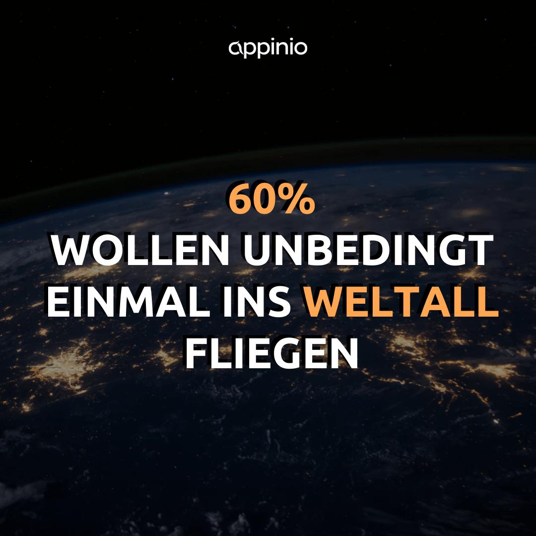 60% wollen unbedingt einmal ins Weltall fliegen