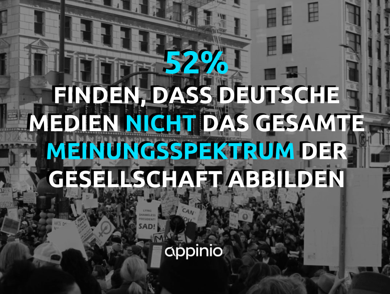 52% finden, dass deutsche Medien nicht das Meinungsspektrum der Gesellschaft abbilden - Umfrage zu Online-News und Vertrauen in Medien