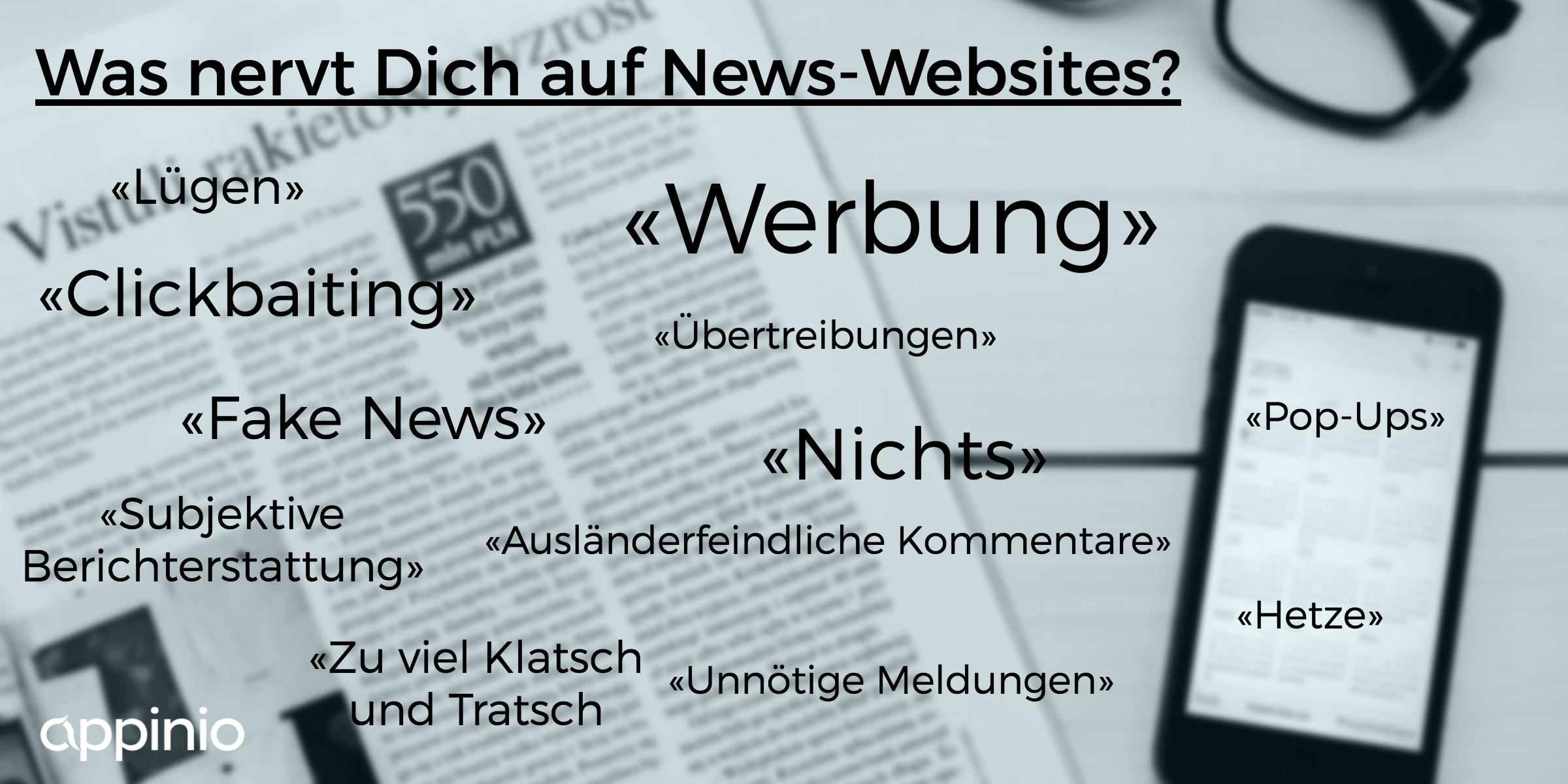 Was nervt junge Menschen auf News-Websites? Sie sagen: Werbung, Fake News, Clickbaiting, Hetze, Übertreibungen,...