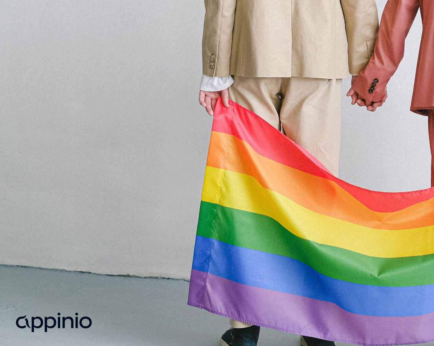 A same-sex couple holding hands and the rainbow-coloured LGBTQ+ flag.